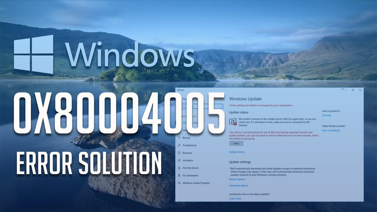 How To Fix The Remove Update Error 0x80004005