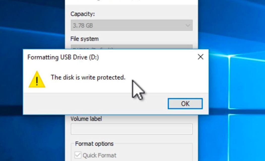the disk is write protected