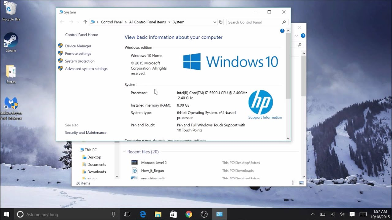 how to check pc specs windows 10